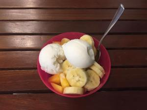 Banana, mango and coconut ice cream